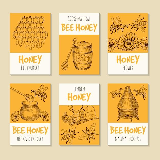 Conjunto de cartões de vetor para produtos de mel. símbolos de comida saudável Vetor Premium