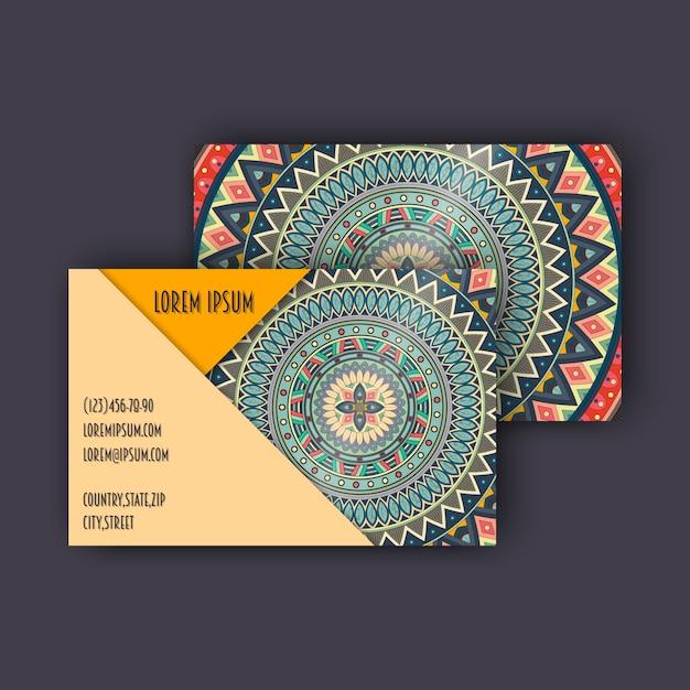 Conjunto de cartões de visita vintage vintage. padrão floral de mandala e ornamentos. Vetor Premium