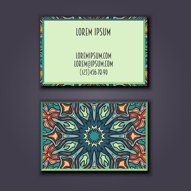 Conjunto de cartões de visita vintage. Vetor Premium