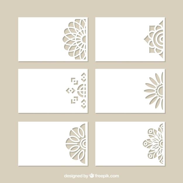 Conjunto de cartões decorativos com corte a laser Vetor Premium