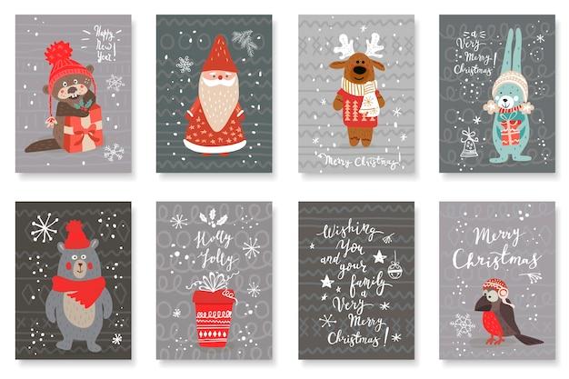 Conjunto de cartões fofos com animais bonitos desenhados à mão e saudações de natal Vetor Premium