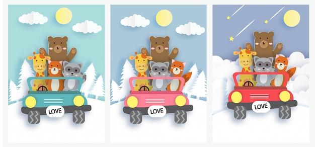 Conjunto de cartões fofos com animais do zoológico, montando um carro colorido. Vetor Premium