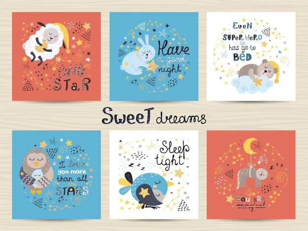 Conjunto de cartões fofos para bebês Vetor Premium