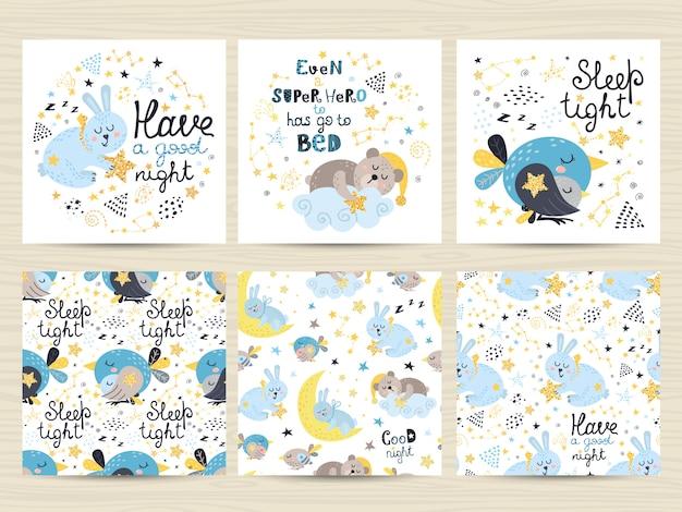 Conjunto de cartões para meninos pequenos Vetor Premium