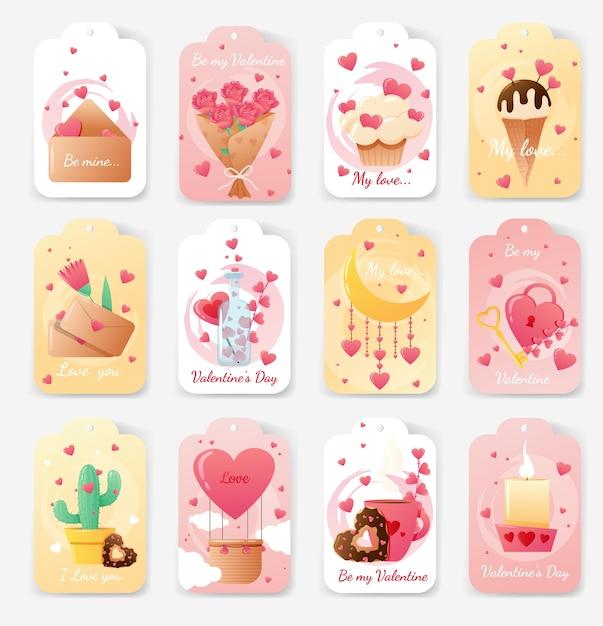 Conjunto de cartões para o dia dos namorados. Vetor Premium