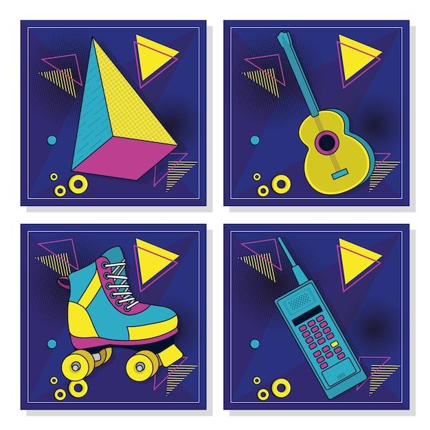 Conjunto de cartões pop retrô Vetor Premium