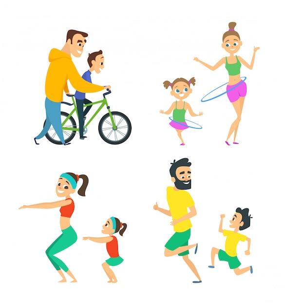 Conjunto de casais em atividades de fitness Vetor Premium