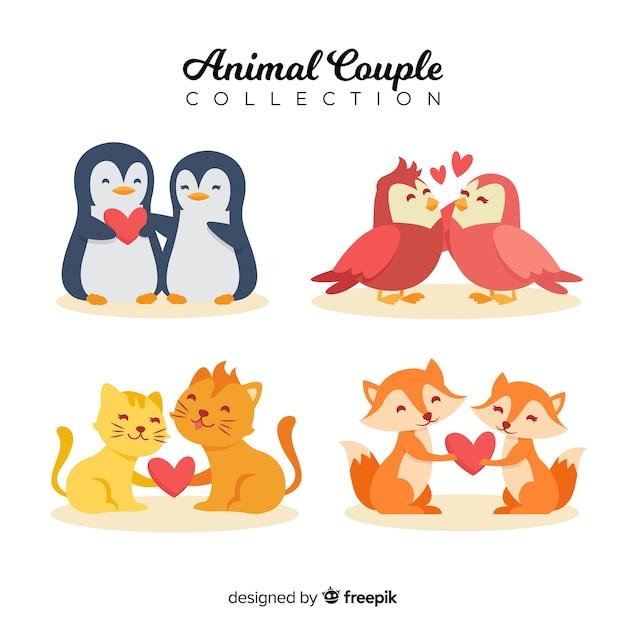 Conjunto de casal de animais dos namorados mão desenhada Vetor grátis