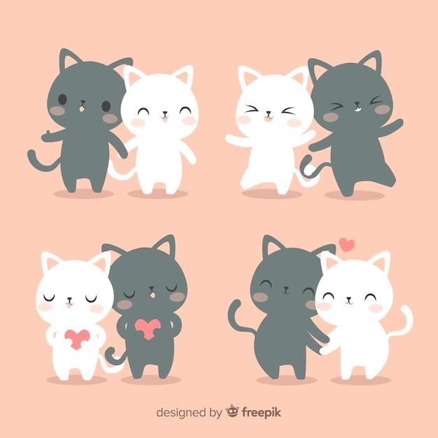 Conjunto de casal de gato mão desenhada Vetor grátis