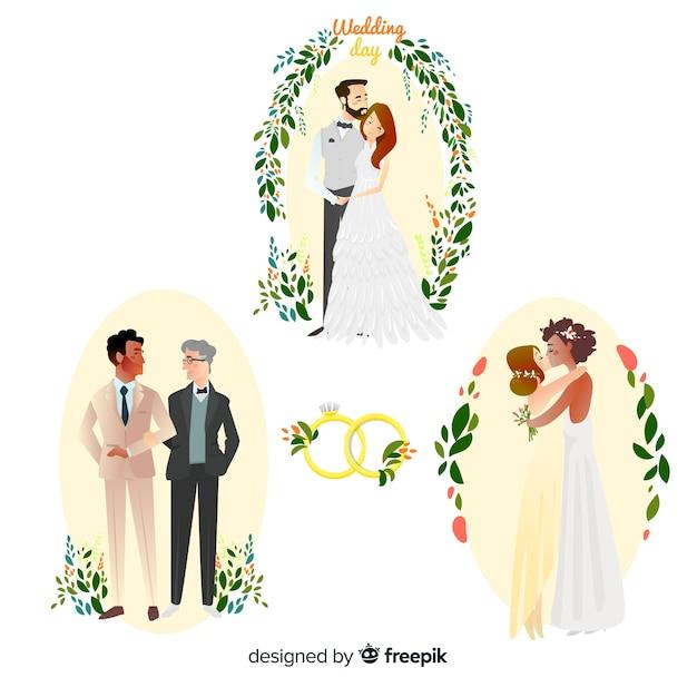 Conjunto de casal de noivos mão desenhada Vetor grátis