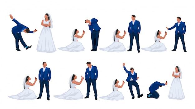 Conjunto de casal de noivos Vetor Premium