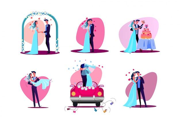 Conjunto de casal recém casado Vetor grátis