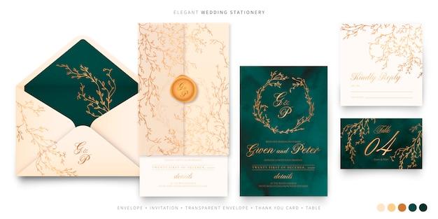 Conjunto de casamento elegante em verde, bege e dourado Vetor grátis