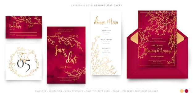 Conjunto de casamento elegante vermelho e dourado Vetor grátis