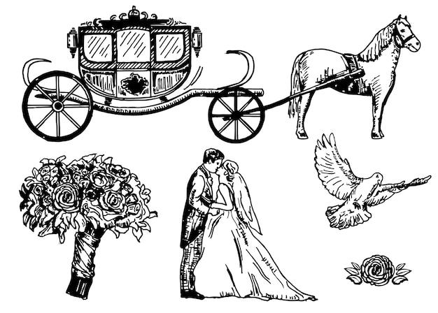 Conjunto de casamento mão desenhada Vetor Premium