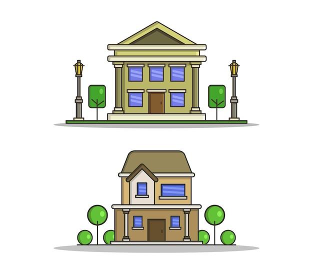 Conjunto de casas com árvores em estilo simples Vetor Premium