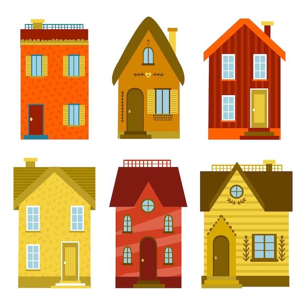 Conjunto de casas de design plano Vetor grátis