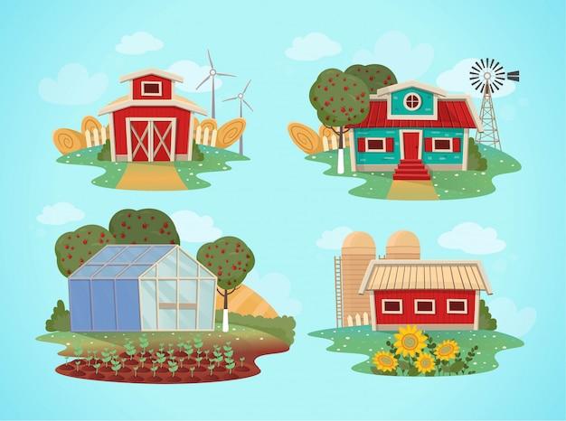 Conjunto de casas de fazenda. estufa, celeiro, casa com um moinho. ilustração em estilo cartoon. Vetor Premium
