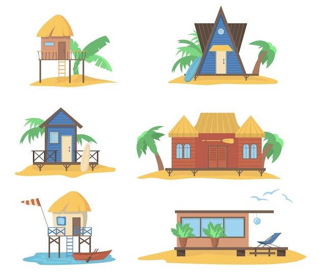 Conjunto de casas de verão no mar Vetor grátis