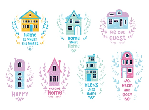 Conjunto de casas dos desenhos animados com letras Vetor Premium