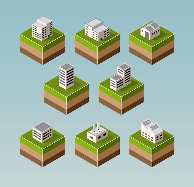 Conjunto de casas isométricas com elementos da paisagem Vetor Premium