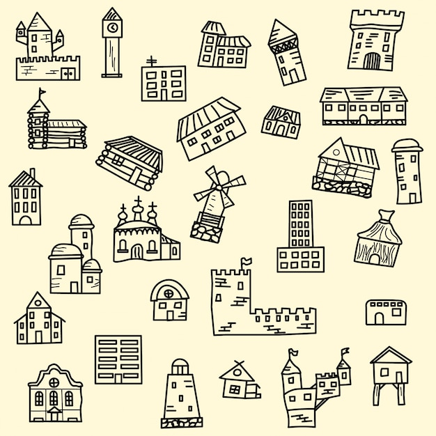 Conjunto de casas vector doodle Vetor grátis