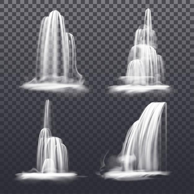Conjunto de cascata realista ou fonte de água. córregos da montanha ou rio caindo, victoria caem sobre fundo transparente. paisagem de decoração de natureza isolada. fluxo de líquido. cenário Vetor Premium