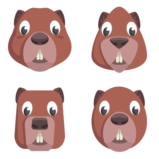 Conjunto de castores de desenhos animados. diferentes formas de rostos de animais. Vetor Premium