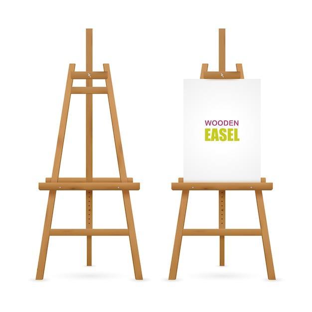 Conjunto de cavalete de madeira artista Vetor grátis