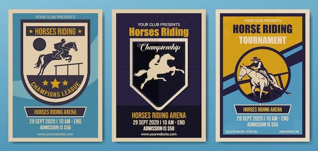 Conjunto de cavalos, modelo de panfleto de campeonato, retrô Vetor Premium
