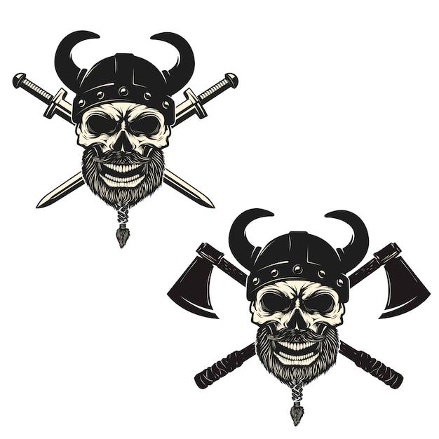 Conjunto de caveiras em capacetes de viking com espadas cruzadas e machados. elementos para cartaz, emblema, sinal, impressão de t-shirt. Vetor Premium