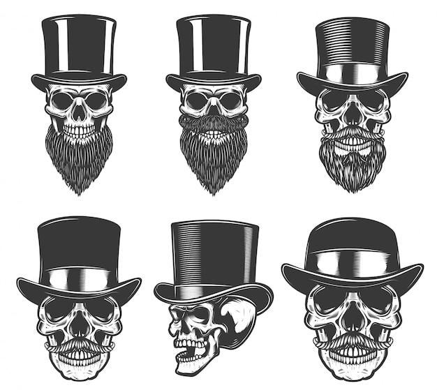 Conjunto de caveiras em chapéus retrô. elemento para cartaz, cartão, camiseta, emblema, distintivo. imagem Vetor Premium