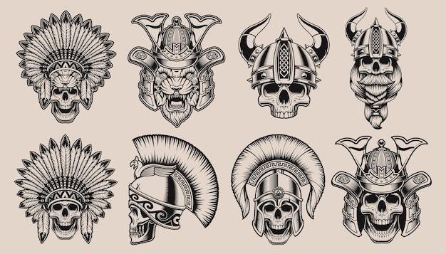 Conjunto de caveiras pretas e brancas em capacetes de guerreiros. samurai crânio, samurai tigre, crânio viking, crânio nativo americano e crânio espartano. Vetor Premium