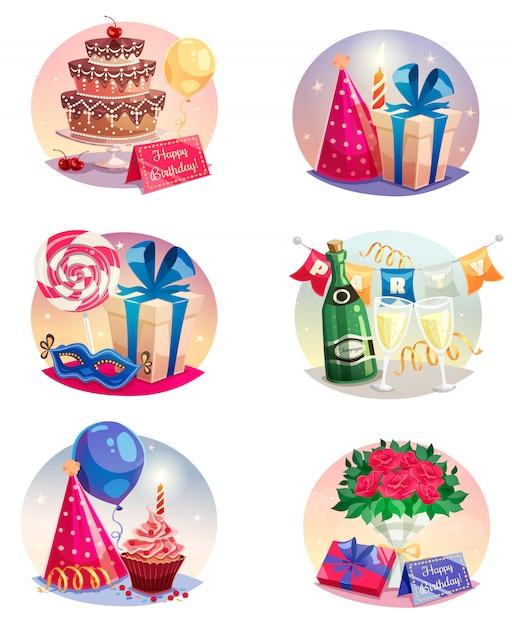 Conjunto de celebração de balões de ar isolado Vetor grátis