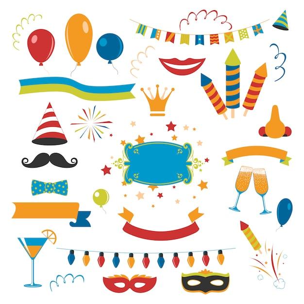 Conjunto de celebração de férias Vetor grátis