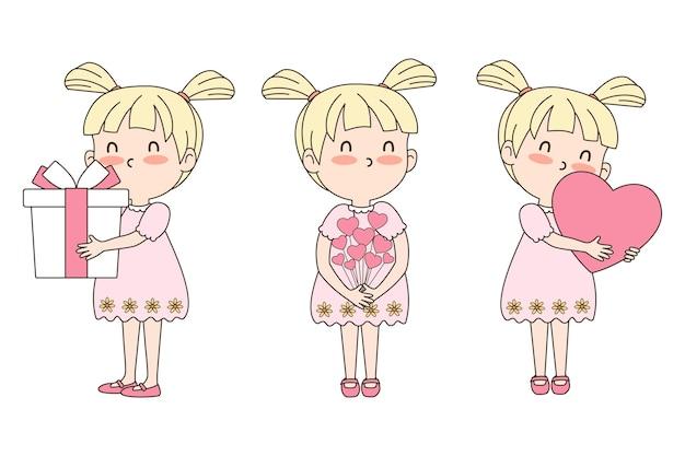 Conjunto de celebração de vetor de linda garota com presente, coração e flores. conceito dos namorados. vetor eps 10 Vetor Premium