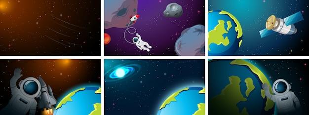 Conjunto de cena de espaço diferente ou plano de fundo Vetor grátis