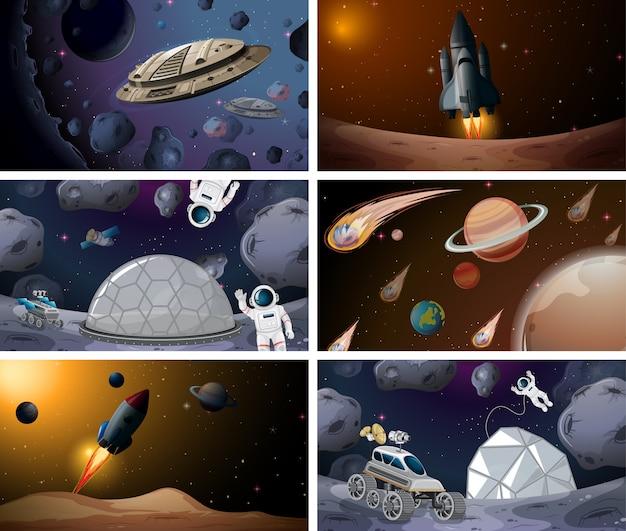 Conjunto de cena do grande espaço Vetor grátis