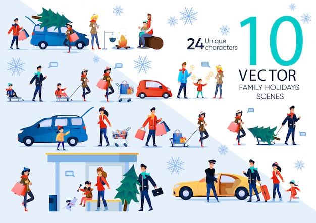Conjunto de cena plana de celebração de família de natal Vetor Premium