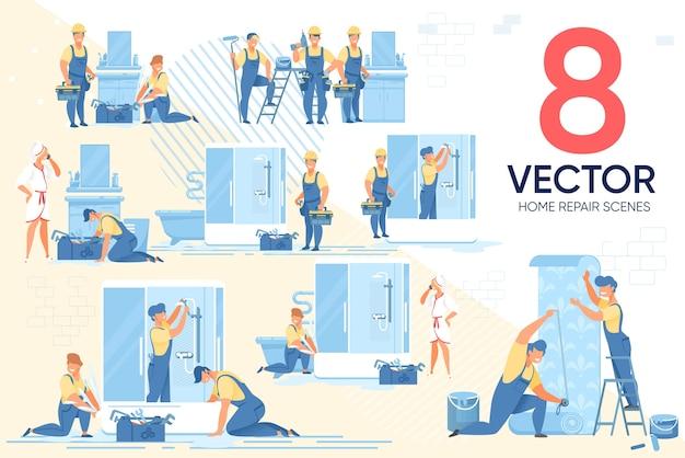 Conjunto de cenários de eletrodomésticos para consertos domésticos mestre Vetor Premium