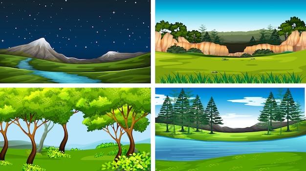 Conjunto de cenas da natureza dia e noite Vetor grátis