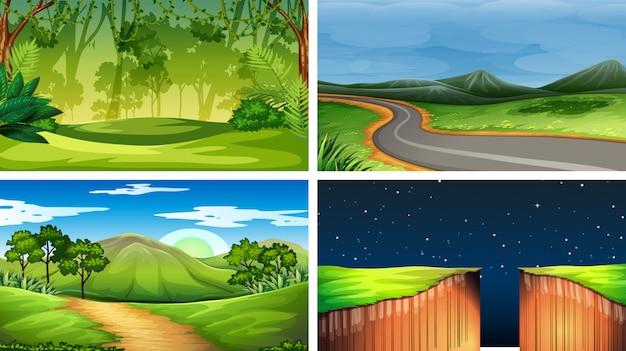 Conjunto de cenas da natureza dia nd noite Vetor grátis