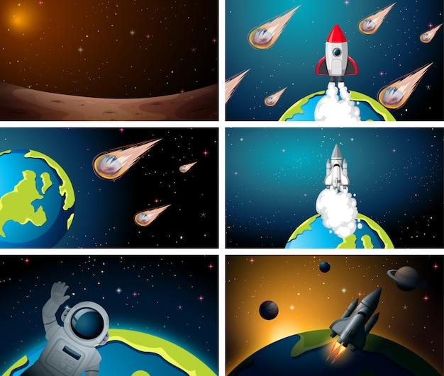 Conjunto de cenas de foguete espacial Vetor grátis