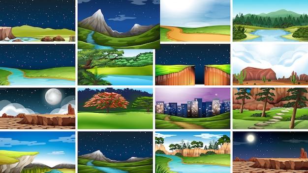 Conjunto de cenas de fundo no cenário da natureza Vetor grátis