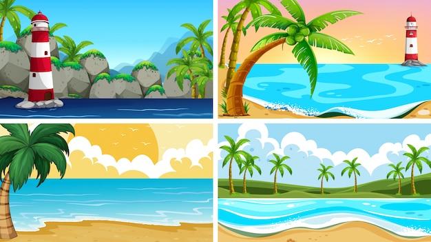 Conjunto de cenas de natureza tropical oceano com praias Vetor grátis