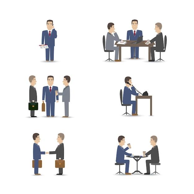 Conjunto de cenas de negociações de pessoas de negócios Vetor grátis