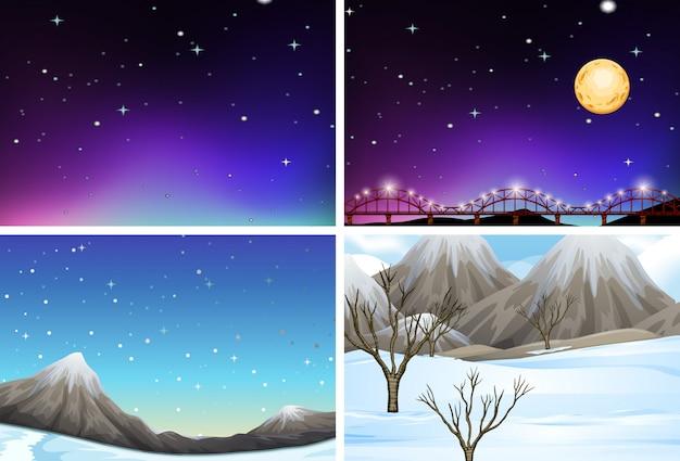 Conjunto de cenas de paisagem diferentes Vetor Premium