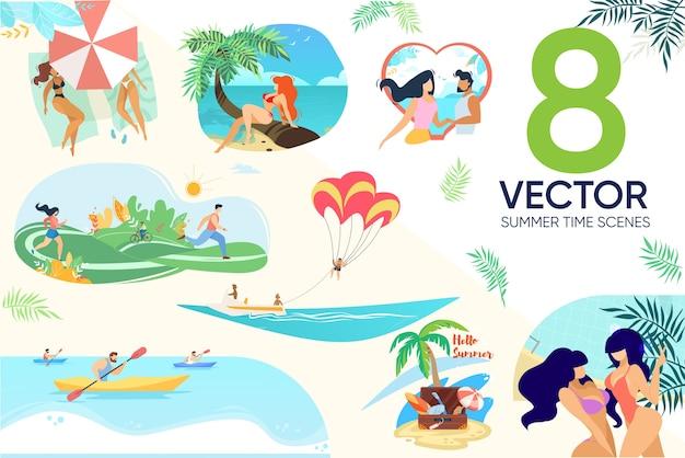 Conjunto de cenas de pessoas descansando na praia no parque Vetor Premium