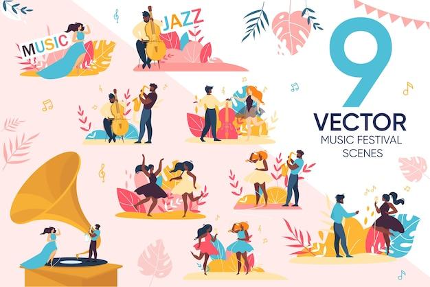 Conjunto de cenas de pessoas para festival de música jazz ao ar livre Vetor Premium