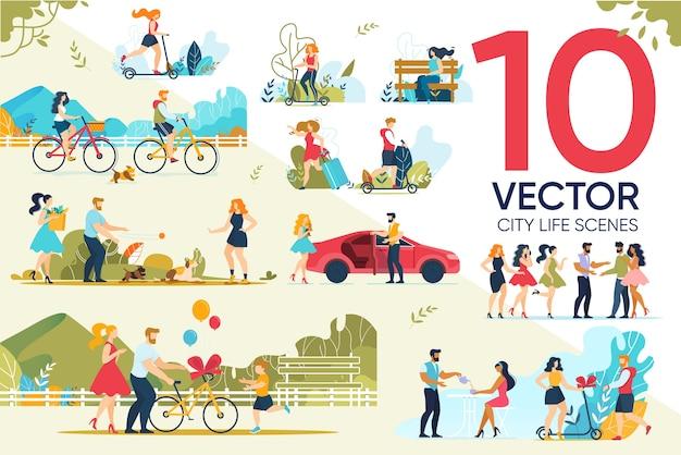 Conjunto de cenas de vida urbana happy people rest outdoor Vetor Premium